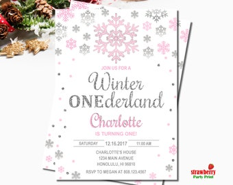 Winter ONEderland Invitation Girl, Pink & Silver Glitter, Snowflake Birthday Invitation, Winter First Birthday, Digital Printable, A60