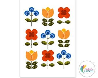 Printable Scandi Style Flowers - Retro Flowers, Retro Printable for Kitchen, Flowers Printable, Scandi Wall Art, Scandinavian Printable