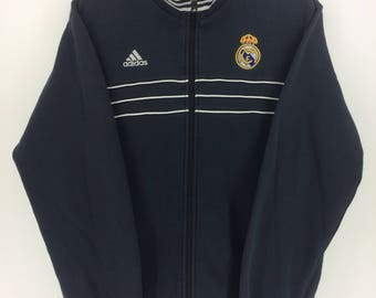 Vintage 90's Adidas Real Madrid 3 Stripes Sport Classic Design Skate Sweat Shirt Sweater Varsity Jacket Size M #A882