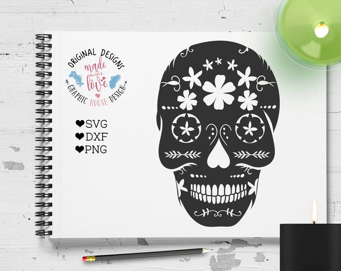 Sugar Skull svg, sugar skull dxf, sugar skull iron on, sugar skull clipart, Day of the Dead svg, sugar skull cutting File, sugar skull