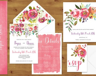 Bright Summer Watercolour Floral Wedding Invitations Stationery Set - Printed or Digital Download - Summer Wedding - Wedding Printable