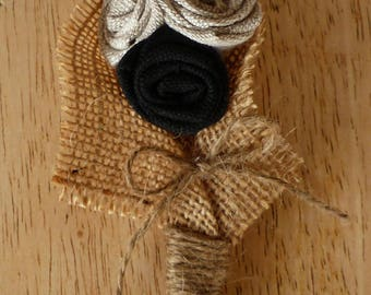 Boutonniere in Burlap and black fabric (made to order)