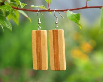 Wood earrings, handmade earrings, handmade wood earrings, geometric earrings, simple earrings, casual earrings, wooden earrings, earrings
