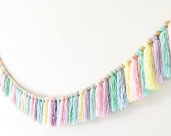 Wool tassle wooden bead garland any colour tassle per metre
