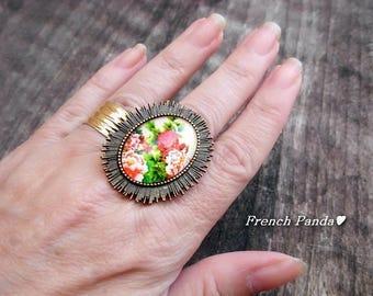 "Beautiful large Adjustable ring bronze ""Flower"""