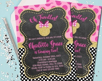 MINNIE MOUSE INVITATION, Minnie Mouse Birthday Invitation, Birthday Invite, Minnie Mouse, Pink and Gold, Oh Twodles, 2nd Birthday, Printable