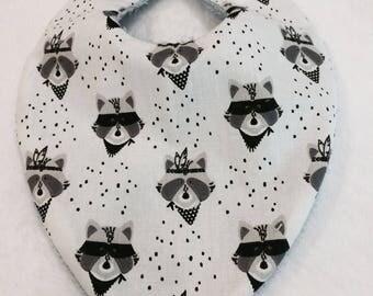 Raccoon baby bandana bib
