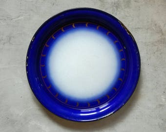 Large Round Vintage Enamel Tray made in Czechoslovakia