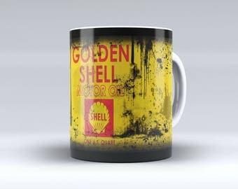 Oil Can Mug, Oil Mug, Shell Oil, Shell Oil Mug, Retro Oil Can, Retro Oil Can Mug, Golden Shell Oil Can Coffee Mug