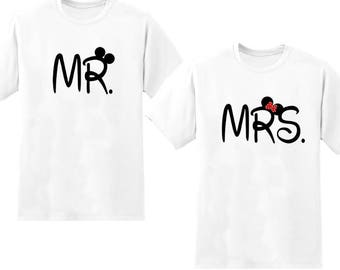 Mr and Mrs Disney T-shirts Honeymoon/ wedding gift