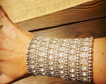 "Extra wide 4"" stretchy cuff rhinestone bracelet"