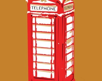 Illustration poster to download * Cabin British phone snow * winters, christmas, England, London, United Kingdom, drawing, digital art