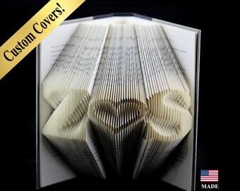 Book Art Anniversary Gift,  First Anniversary Gift, 1st Anniversary Gift, Paper Anniversary Gift, Folded Book Sculpture Initials, Custom Art