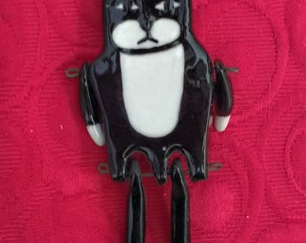 Black Cat Brooch Dangle Feet and Arms Hand Made