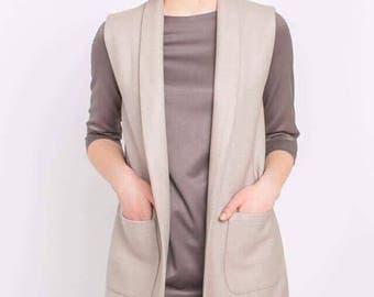 Womens vest, Long vest, Sleeveless vest