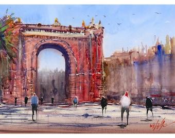 Fine Art Print of Arc de Triomf Barcelona Watercolour Painting Signed Cityscape Spain Scene Urban Giclee High Quality Vibrant Impressionist