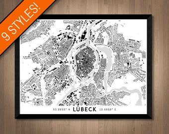 Buildings of Lübeck map art   Printable Lubeck map print, Germany map gift, Lübeck print, Lübeck poster, Lübeck art print, Lubeck wall art