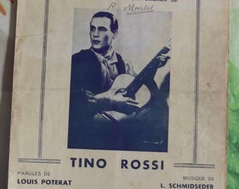 Vintage French song 1934 Sheet Music - love by Tino Rossi Corsica guitar