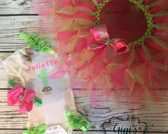 Tutu Cute Birthday Petti Tutu Set! With Headband Footless Sandals In Hot Pink & Lime Green!! Simpy Adorable