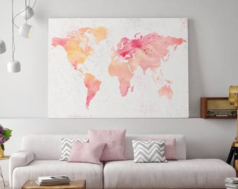 Watercolor world map etsy world map watercolor watercolor world map world map kids canvas map of the gumiabroncs Gallery