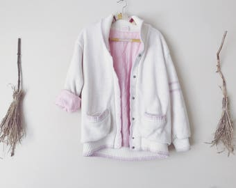 Pink and White Knit Bomber