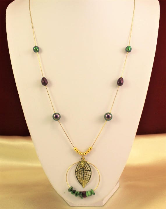 filigree print with gemstones necklace, leaf with pearls swarovski and gold plated chain