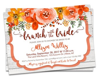 Fall Bridal Brunch Invitation, Fall Floral Bridal Shower Invitations, Brunch with the Bride Fall Bridal Shower Invite, Autumn Wedding Shower