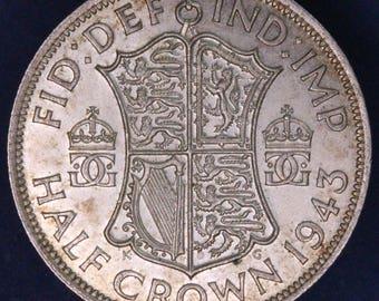 GENUINE 1943 George VI KGVI 50% Silver Half Crown  2/6 excellent coin *[11878]