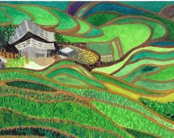 Sapa Rice Terraces Vietnam, Original Watercolor Painting Postcard