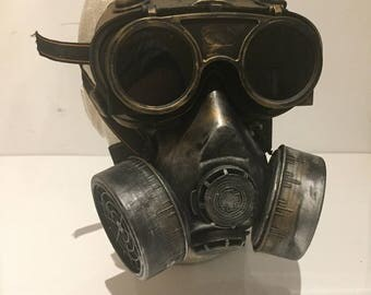 Steampunk Respirator Gas Mask And Goggles, With Post Apocalyptic Survival Style, Mad Max, Burning Man Wasteland Style And Flip Up Goggles