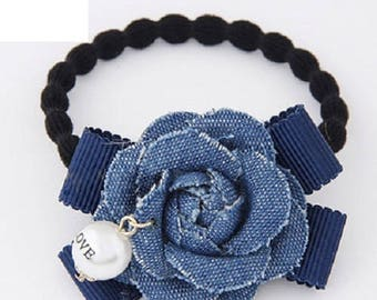 Casual Jean Blue Rose with Faux Pearl Hair Tie - Everyday Elastic