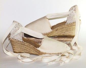 Lace up bridal wedding wedges espadrilles   Beige  Organic cotton   Alpargatas made in Spain