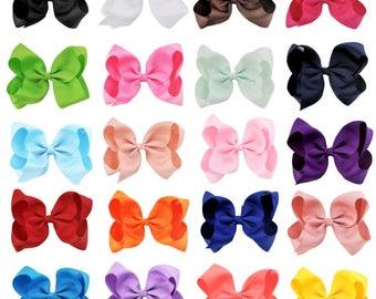 """6"""" Hair Bows, Grosgrain Ribbon Hair Bows, Toddler Hair Bows, Girls Hair Bows, Girls Hair Clips, Set of 20 Colors, Girls 6"""" Hair Bow and Clip"""