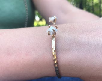 White Chalcedony Gold Cuff Bracelet // Sun and Moonstone