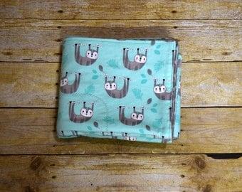 Sloth Flannel Baby Blanket, Mint Sloth Receiving Blanket, Soft Flannel Baby Blanket, New Baby Gift, Sloth Nursery Baby Blanket