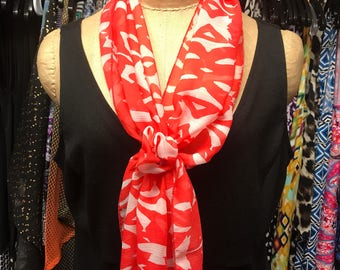 Coral & White Scarf with Velcro Closure