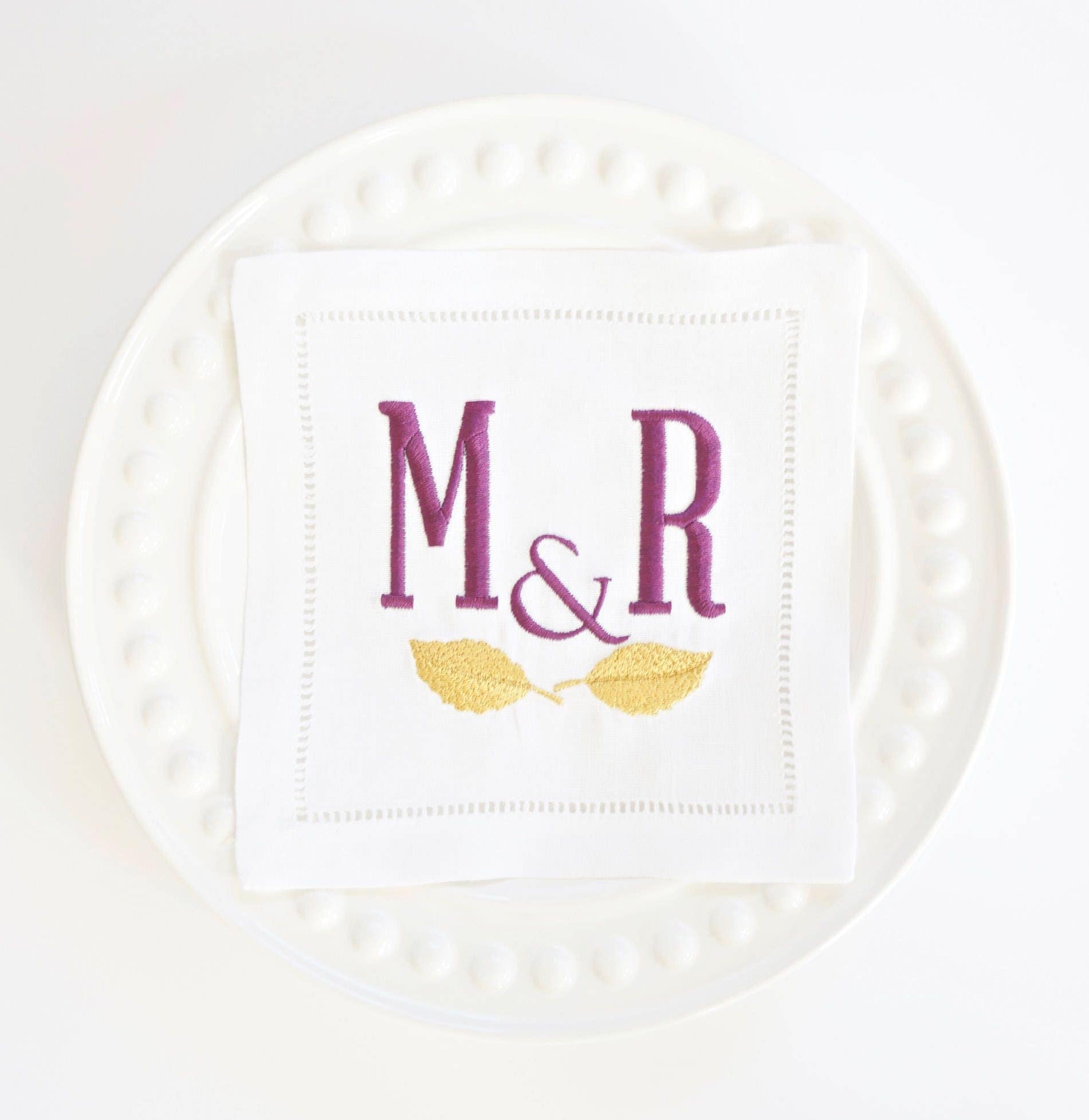 Leaves and monogram embroidered linen cocktail napkins