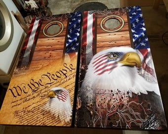 American Flag Wood Camo Eagles Complete Cornhole Set
