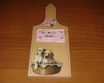 Dekoriert Holz Platte dekoriert mit Welpen Hunde Tierfreunde, Dekoration zum Aufhängen