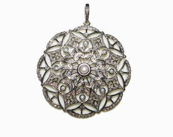 Natural Pave Diamond 925 Sterling Silver Designer Pendant