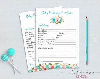 Mint Predictions Advice Baby Shower Game Floral Mint Coral Baby Shower Activity Digital Shower Printable Baby Shower Flowers Card - CG011