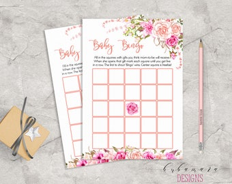 Baby Shower Bingo Game Pink Floral Baby Game Trivia Pink Roses Baby Shower Bingo Card Digital Printable Baby Activity - CG017