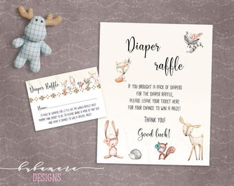 Woodland Animals Diaper Raffle Baby Shower Game Cute Animals Fox Deer Squirrel Gender Neutral Printable Raffle Trivia Quiz Activity - CG007
