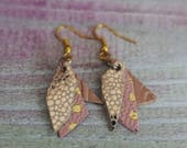 Gold & Rose Pink Leather Earrings (medium)