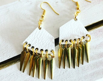 White Leather Earrings with Gold Charms (small)