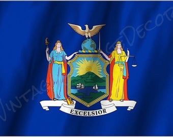 New York State Flag on a Metal Sign