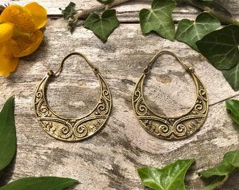 Indian brass earrings, brass hoop earrings, tribal earrings, tribal jewellery, gifts for her, ethnic jewellery, bohemian earrings