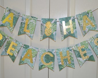 Aloha Beaches - Bachelorette Party Decorations - Tropical Pineapple Beach Theme Party - Green Ferns Gold Glitter