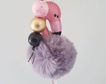 Fluffy Wooden Bead Grey a Flamingo Keyring - Bag Charm