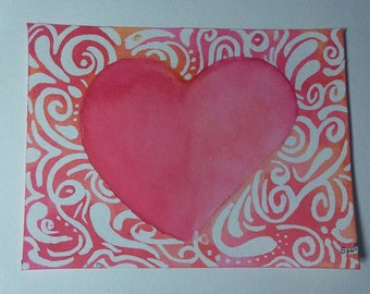 Small watercolor Valentine card